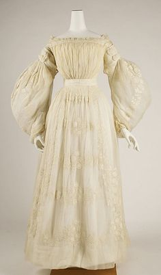 Wedding Dress: Long Sleeves 1837, French, Made of cotton