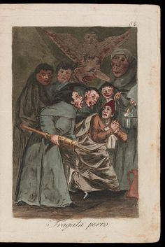 "Tragala perro. (Swallow it, dog); Plate 58 bound into ""Los Caprichos"" | Museum of Fine Arts, Boston"