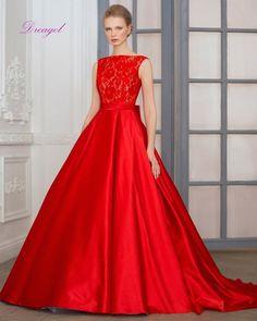 Dreagel New Arrival Boat Neck Red A Line Satin Wedding Dresses 2017 Graceful Lace Vestido Sashes Bow Bride Dress Robe De Mariage Wedding Weddingdresses