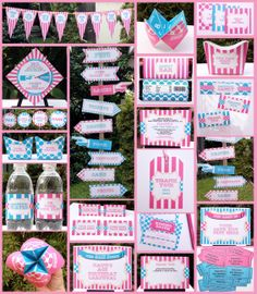 Carnival Circus Party Printables - Pink and Aqua