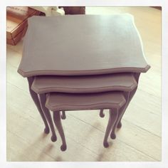 "Nesting tables painted in Autentico ""Pigeon Grey"""