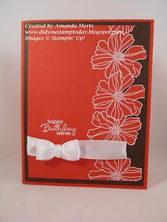 Fifth Ave Floral and Petite Pairs in Poppy Parade and Early Espresso CS w white embossing powder and a satin ribbon fork bow