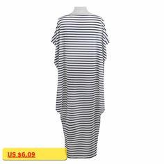 Well Women Loose Long Maxi Dress Striped Batwing Sleeve Off Shoulder Split Casual Beach Dresses Wear Vestidos Plus Size
