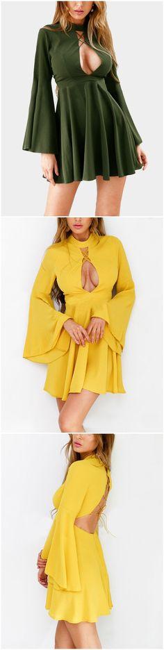 Choker Neck Tigh-waist Criss-Cross Cutout Mini Dress