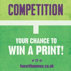 We are working on a set of Wimbledon themed prints, here's your chance to win a limited edition FUNwithNAMES print, first one to guess one of the names wins an A3 limited edition print. Email your entry via our website: www.funwithnames.co.uk  Good Luck!