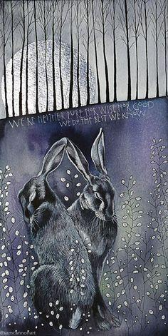 Beautiful hare illustration by Sam Cannon Art And Illustration, Hase Tattoos, Lapin Art, Sam Cannon, Rabbit Art, Bunny Art, Woodland Creatures, Fantasy Art, Art Projects