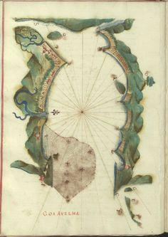 """Cod. 8033 - 16746 - 22 --  João de Castro (1500-1548)  """"Roteiro da costa do norte de Goa, ate Dio, no qual se descrevem todos os portos, alturas, sondas, demarcações, diferenças de agulha que ha em toda esta costa"""". [16--]. BNP Cod. 8033"""