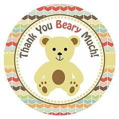Teddy Bear Thank You Stickers for Birthday or Baby Shower Party - Set of 30