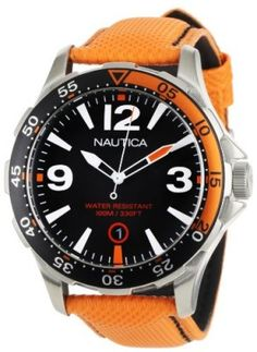 Relógio Nautica Men's N12578G BFD 101 Orange Polyurethane and Black Dial Watch #Relogio #Nautica