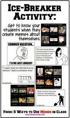 Use memes for an ice-breaker activity  {from www.traceeorman.com}