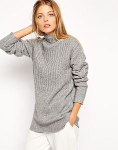 ASOS Chunky Sweater In Rib Stitch With Funnel Neck