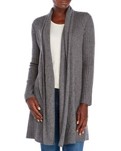 Ply Cashmere Shawl Collar Open Front Cashmere Cardigan