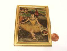 Vintage Brass Compact Photo Album Case Silk Art Top -  Purse Photo Holder by okanaganvintage on Etsy