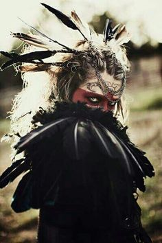 A little bit of dark shaman. Mad Mary: Crow Art Print by Joshua Wilcoxon Photography Crow Art, Maquillage Halloween, Halloween Kostüm, Halloween Costumes, War Paint, Dark Beauty, Headdress, Character Inspiration, Steampunk