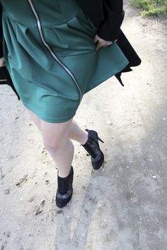 Let's get Holiday fancy - green high neck scuba full skater skirt dress, zipper front dress, holiday attire, lace booties, dress peacoat, skirted peacoat, dress trench coat, kate spade black bow top handle bag, Etsy faux stone earrings, ellie connard  LONGHAIRAFFAIR.COM
