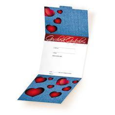 Caro-Gutschein FA100 - ein Gutschein für die Modebranche mit Jeansmotiv Things To Do, Cards, Gifts