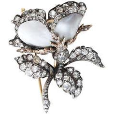 Victorian Mother of Pearl and Diamond Flower Brooch