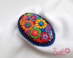 Brooch Textile Firework. Felt Brooch. Textile Art Jewelry.  Idea for Gift. Creative Original Unusual Pin. Blue Color Base