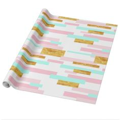 Contemporary Pink, Gold, Aqua Block Print Wrapping Paper. #wrappingpaper