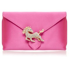 Wilbur & Gussie Charlie Candy Pink Horse Silk Clutch Bag ($115) ❤ liked on Polyvore featuring bags, handbags, clutches, borse, pink, pink clutches, silk handbags, two tone handbags, pink handbags and horse purse