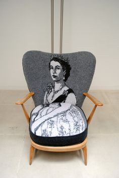 By KnittedPortraits - Sue Bradley. Knitted Chair cover