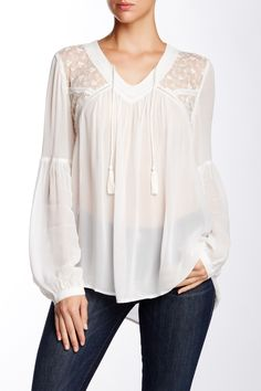 14th & Union - Lace Yoke Blouse at Nordstrom Rack. Free Shipping on orders over $100. Bishop Sleeve, Every Girl, Leather And Lace, Nordstrom Rack, Casual Wear, Bell Sleeve Top, Blouses, Free Shipping, Elegant