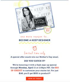 BIG NEWS! The sign-up incentive KEEP Collective ran back in January giving you an extra $50 in product credit JUST for signing up to become a designer is BACK ON through Monday!!  That's $550 worth of jewelry for $149!!! Questions? Message me for details!!! Or check out our sign up page here --> https://www.keepcollective.com/join?with=bethanylchang :)