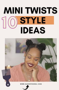 Mnini Twists are so easy and versatile and most importantly it's a low manipulation protective style. If you are not big on braids this is a great option as they hold in moisture really well! I'm sharing 10 easy ways to style your mini twists . #minitwists #minitwistsstyles #naturalhair Fine Natural Hair, Natural Hair Twists, Cute Natural Hairstyles, Protective Hairstyles For Natural Hair, Step By Step Hairstyles, Twist Hairstyles, Mini Twists, Natural Hair Tutorials, Castor Oil For Hair