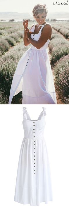 A shell white hue, button-down detail and bow-tie straps gives this dress an alluring girl-next-door vibe. Dashing Darling Cami Dress in White featured by Wild One Forever Blog