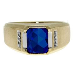 Diamond and Emerald Cut Sapphire Gemstone Men's Ring In Yellow Gold Available Exclusively at Gemologica.com