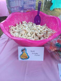 Disney Princess party - Belle's birthday popcorn