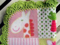 Fleece Baby Blanket with Crochet Edging