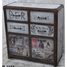 DESIGNER EUROPEAN CHEST OF DRAWS  The Designer European Chest of Draws is exceptional place to keep your knick knacks. The playful vintage images add a burst of character and high quality leather has been used to boarder this piece.