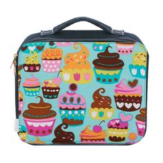 denim lunch bag with turquoise cupcake print - perfect for tweens!