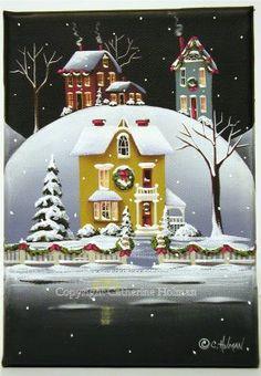 Catherine Holman Folk Art: Silver Lake Christmas Folk Art Painting