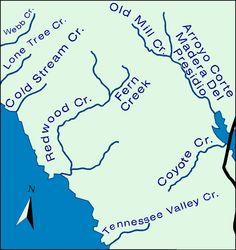 The Redwood Creek Watershed includes: Green Gulch, Bootjack Creek, Rattlesnake Creek, Spike Buck Creek, Fern Creek, Laguna Creek, Kent Creek.