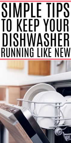 Is your dishwasher not running properly? Give it a quick tune-up and help it run like new. Check out these simple tips to make your dishwasher run like new. Cleaning Recipes, Diy Cleaning Products, Cleaning Solutions, Cleaning Hacks, Cleaning Appliances, Kitchen Cleaning, Kitchen Hacks, Diy Cleaners, Cleaners Homemade