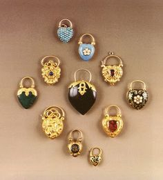 I love lockets! Gold, enamel, and gem set hear shaped padlock clasp pendants, 1855 Heart Jewelry, Jewelry Art, Fine Jewelry, Jewelry Design, Jewellery, Victorian Jewelry, Antique Jewelry, Vintage Jewelry, Vintage Lockets