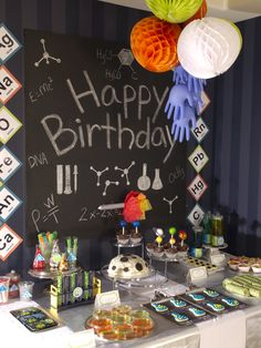 Tablescape ideas for your Mad Scientist themed birthday party. Printable and details on how to make can be found in the 50-page Mad Scientist Party Plan in my shop: http://etsy.me/1ycu1ig