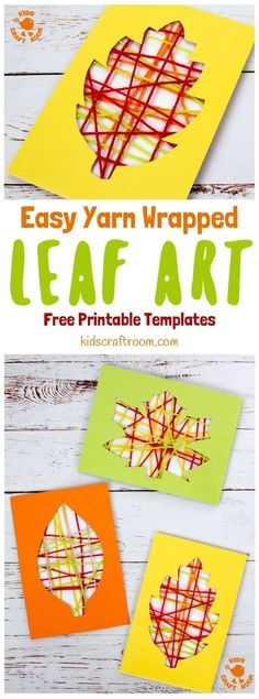 This Yarn Wrapped Leaf Art is so pretty! A fabulous way to capture the colours of the season and build fine motor skills. An easy to make leaf craft with 6 free printable templates to choose from. A simple and fun Fall craft for kids of all ages. #kidscraftroom #leaf #leaves #Fallcrafts #Fallart #leafcrafts #leafart #Autumnart #Autumncrafts #yarncrafts #kidscrafts #kidsactivities #finemotorskills #motorskills