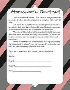 This homework contract helps to get disorganized students back on track one week at a time. The wording explains that each night the parent, teacher and student will initial the homework agenda to ensure communication is taking place and assignments are being accounted for.