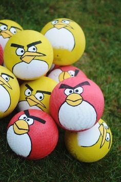 Angry Birds - life-size sling shot and stacking boxes.  I like that they painted the balls as birds and then gave them to the party-goers as favors.