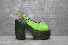 Vtg 70s Lime Green Leather Boho Cork Platform Shoes by theindustry, $78.00