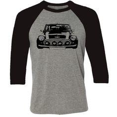 Retro Car T-shirt -Retro Mini Cooper shirt, Classic European Car, Car... ($29) ❤ liked on Polyvore featuring men's fashion, men's clothing, men's shirts, men's t-shirts, mens retro shirts and mens t shirts