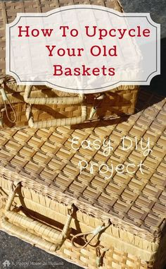 How to upcycle an old wicker basket - easy makeover idea to bring your old picnic baskets right up to date and create a perfect home storage solution and cute decor too!