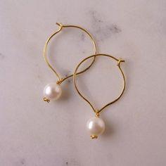 Pearl hoop earrings  white  Pearl earrings  by CalicoRoseStudio