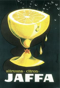 Advertisement poster for the Jaffa soft drink (specifically the lemon-flavoured variant), designed by Erik Bruun, 1956.//feb16