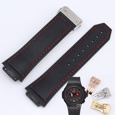 16.63$  Buy now - http://alibqt.shopchina.info/go.php?t=32798385433 - Men's watch with 19MM convex black red thread leather strap folding buckle for HUB big bang 318.CI.1123.GR.FLM11 16.63$ #shopstyle