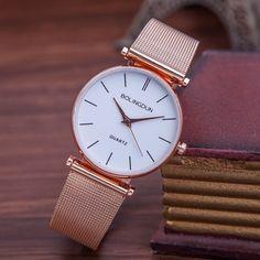 7544d72a285 Relogios Feminino Nové dámské hodinky Fashion Rose Gold Quartz Hodinky  Dámské Luxusní Značka Metal Mesh Nerezové Náramkové hodinky
