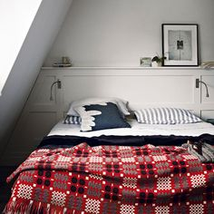 Modern bedroom pictures and photos for your next decorating project. Find inspiration from of beautiful living room images Welsh Blanket, Red Blanket, Grey Headboard, Headboard Lights, Peaceful Bedroom, Vintage Blanket, Bedroom Colors, Bedroom Ideas, Bedroom Nook